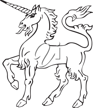 Vectorial pictogram of most heraldic monster - unicorn, executed in style of gravure on wood. No dlends, gradients and strokes.