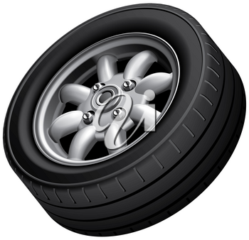 High quality vector image of compact car's wheel, isolated on white background. File contains gradients, blends and transparency. No strokes.