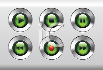 Royalty Free Clipart Image of MP3 Music Media Player Buttons