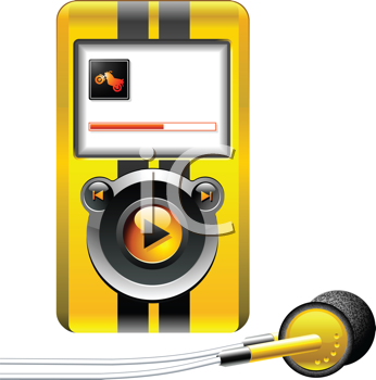 Royalty Free Clipart Image of  a MP3 Music Media Portable Player