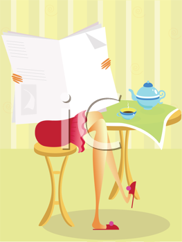Royalty Free Clipart Image of a Woman Reading a Newspaper