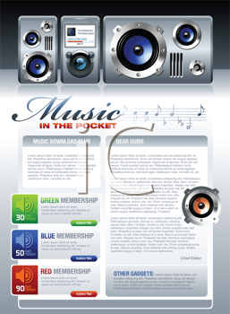 Royalty Free Clipart Image of a Portable MP3 Stereo Music Template