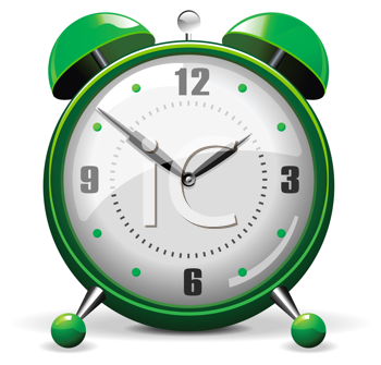 Royalty Free Clipart Image of a Green Alarm Clock