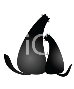 Royalty Free Clipart Image of Cats in Love