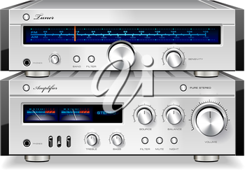 Royalty Free Clipart Image of an Amplifier and Tuner