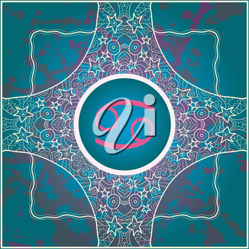 zodiac sign Cancer. What is karma? Vector circle with zodiac signs on ornate wallpaper. Oriental mandala motif square lase pattern, like snowflake or mehndi paint. Watercolor elements on background