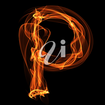 Royalty Free Clipart Image of a Letter P in Fire
