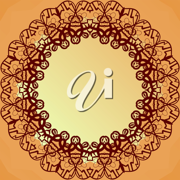 Ornamental round lace frame for text, blank banner vector artwork