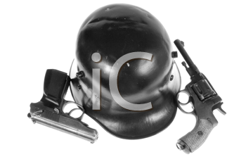 Royalty Free Photo of a Helmet and Pistols