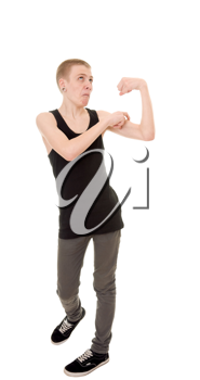 funny skinny teen shows biceps isolated on white background