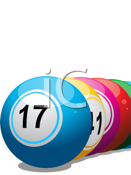 Royalty Free Clipart Image of a Close-up of Lined Up Lottery Balls