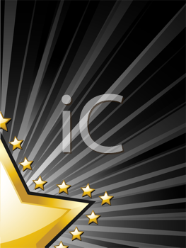 Royalty Free Clipart Image of an Abstract Gold Star Background With Light Rays