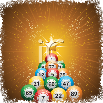 Royalty Free Clipart Image of Lottery Balls in the Shape of a Christmas Tree