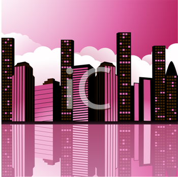 Royalty Free Clipart Image of an Abstract Cityscape With Clouds