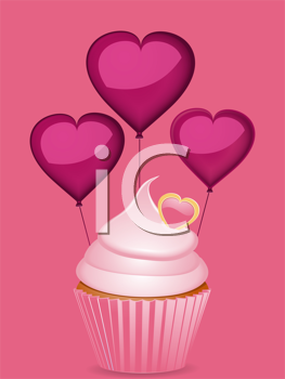 Royalty Free Clipart Image of a Pink Cupcake and Heart Shaped Balloons