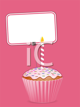 Royalty Free Clipart Image of a Cupcake and Label
