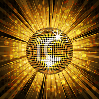 Royalty Free Clipart Image of a Gold Disco Ball Background
