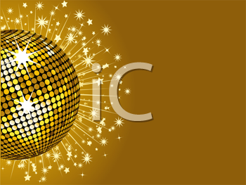 Royalty Free Clipart Image of a Sparkling Gold Disco Ball