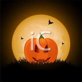 Royalty Free Clipart Image of a Pumpkin With Bats
