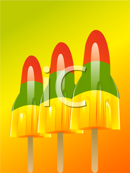 Royalty Free Clipart Image of Three Rocket Popsicles