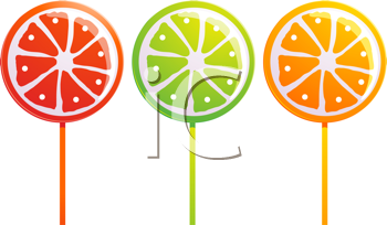 Royalty Free Clipart Image of a Set of Three Fruit Lollipops