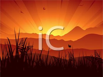 Royalty Free Clipart Image of a Sunset Landscape Background