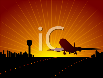 Royalty Free Clipart Image of a Plane Landing in an Airport