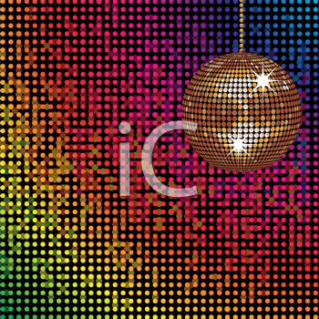 Royalty Free Clipart Image of an Abstract Colorful Background With a Disco Ball