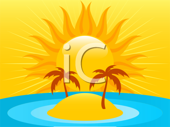 Royalty Free Clipart Image of an Abstract Summer Island