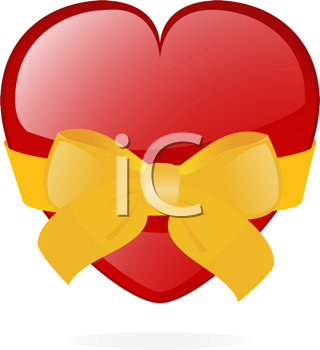 Royalty Free Clipart Image of a Red Heart Wrapped in a Ribbon