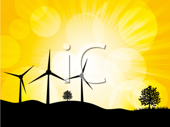 Royalty Free Clipart Image of Wind Turbine Silhouettes