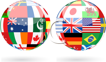 Royalty Free Clipart Image of 3D Spheres With World Flags