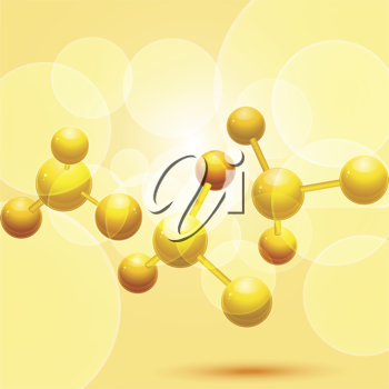 3d molecules on an orange background with glowing circles