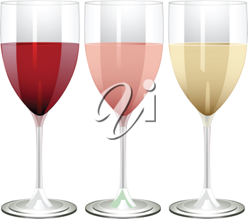 wine glasses filled with red, rose and white wine on a white background