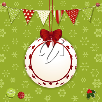 Christmas background with bauble label, bunting and buttons on green snowflakes