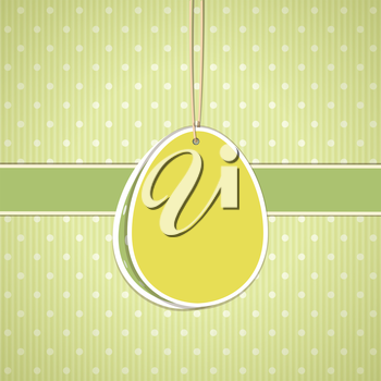 Easter egg label on a green polka dot background with green border