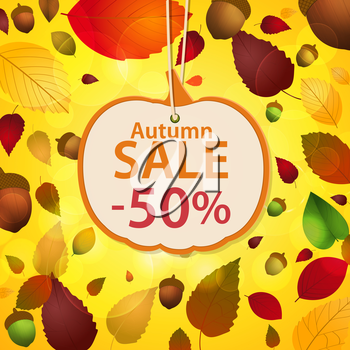 Royalty Free Clipart Image of an Autumn Sale Background