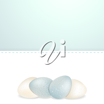 Easter White and Blue Speckled Eggs Background on a White Panel