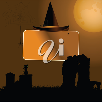 Halloween Sign Label with Hat Over Spooky Background with Moon Cat and Tombstone