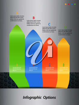Infographic Arrows Over Brushed Metallic Portrait Background