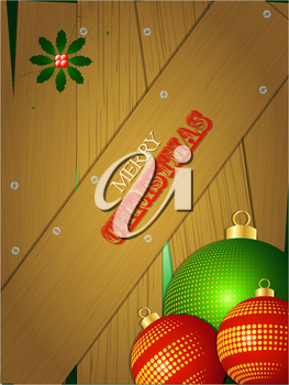 Christmas Portrait Wooden Background with Baubles Holly and Text