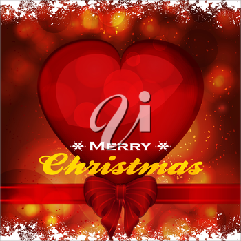 Merry Christmas Glowing Red Background with Heart Ribbon Bow Snow and Text