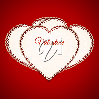 Valentine Heart Shaped Paper Greetings Card Over Red Background
