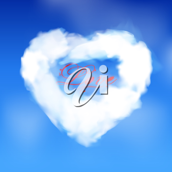White Cloud Forming a Love Heart with Text Over Blue Sky Background