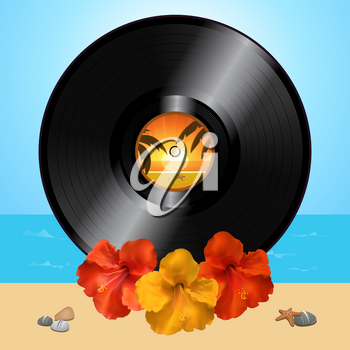 3D Illustration of a Black Vinyl Record Disc and Hibiscus Flowers Over Summer Beach Background