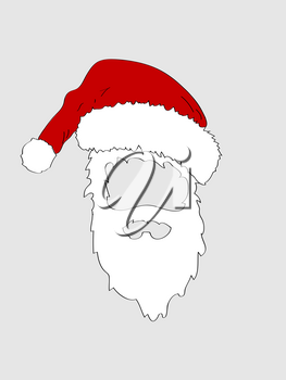 Hand Draw Cut Out of Santa Hat and White Beard