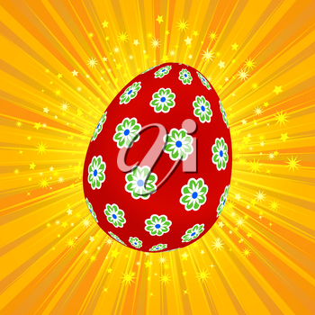 Red Decorated with Flowers Easter Egg Over Yellow Star Burst Background