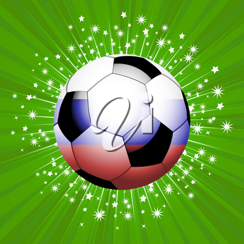 Red Blue and White Football Soccer Ball Over Green Background with White Star Burst