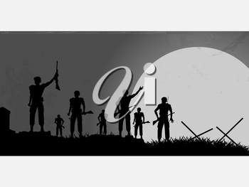 Silhouette of a Group of Soldiers on a Battlefield and Moon Over Grunge Background