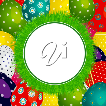 Round Circular Border Surrounded by Green Grass Over Background Decorated with Easter Eggs